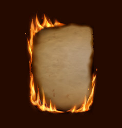 paper burning in fire flame realistic burnt paper vector image