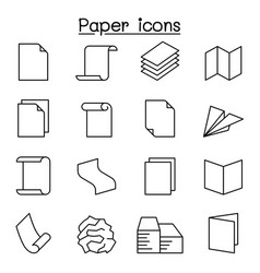 paper document icon set in thin line style vector image