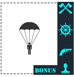 parachutist icon flat vector image