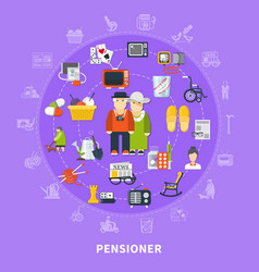 Pensioner colored concept vector