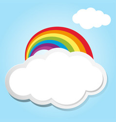 rainbow and clouds in blue sky vector image