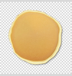 Realistic pancake closeuo isolated on transparency vector