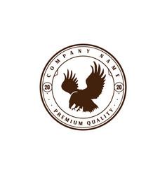 retro vintage eagle hawk falcon bird emblem badge vector image