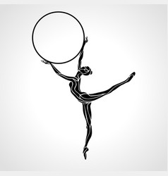 Rhythmic gymnastics girl with hoop silhouette vector