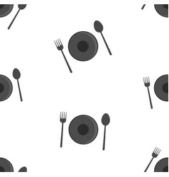seamless pattern of spoon fork and plate on white vector image