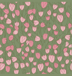 Seamless pattern with cute cartoon pink flowers vector