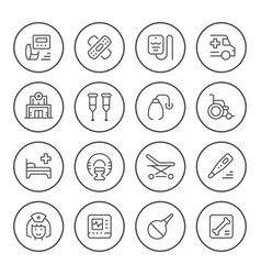 set medical round icons vector image