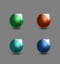 set of realistic glass balls 3d green blue cyan vector image