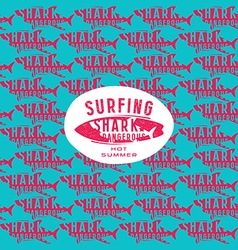Shark seamless pattern and surfing emblem vector