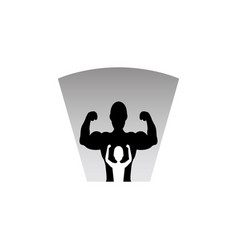 Silhouette a boy hope making a muscle pose vector
