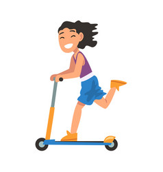 Smiling girl riding kick scooter eco transport vector