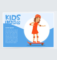 Smiling girl skateboarding kids land banner flat vector