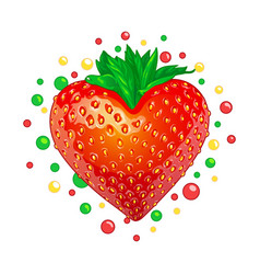 sweet strawberry heart vector image