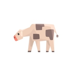 Toy Simple Geometric Farm Cow Calf Browsing Funny vector image