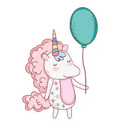 unicorn with balloon cartoon vector image