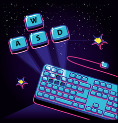 Video game with keyboard retro style vector