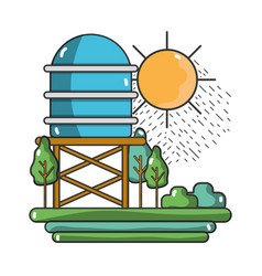 Water tank with trees and sun vector