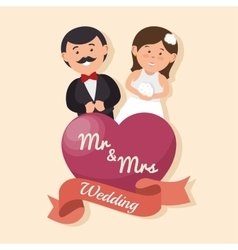 Wedding card happy couple with heart mr mrs design vector