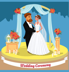 Wedding ceremony flat invitation postcard concept vector
