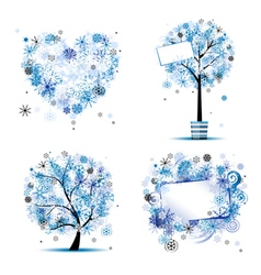winter tree frames vector image