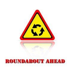 yellow warning roundabout ahead icon background ve vector image