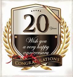 20 years anniversary golden label vector image vector image