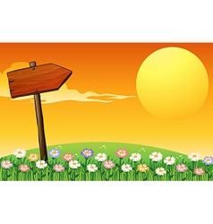 A sunset with a wooden arrow vector image vector image