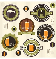 Collection of beer badges and labels in vintage vector image vector image
