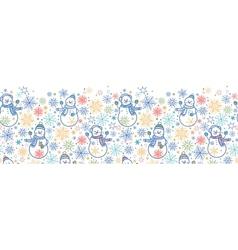 Cute snowmen horizontal seamless pattern vector image vector image