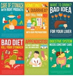 Digestion Posters Set vector image vector image