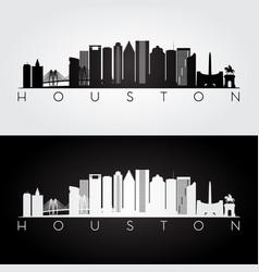 houston usa skyline and landmarks silhouette vector image vector image
