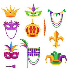 mardi gras colorful decorative elements on white vector image