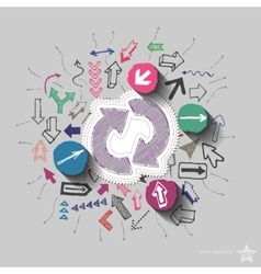 Recycling arrows and arrows web icons set Collage vector image