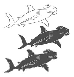 set of depicting the hammer shark vector image