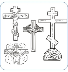 Cross and crucifix - vector image vector image
