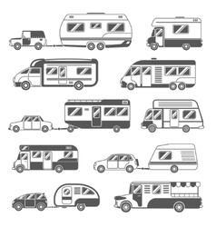 Motorhomes Black White Icons Set vector image