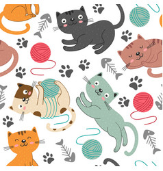 seamless pattern with cheerful cats vector image