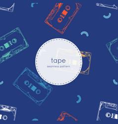 vintage audio tape cassette seamless pattern vector image