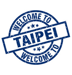 welcome to taipei blue stamp vector image vector image