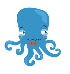 cartoon octopus a little sad octopus vector image