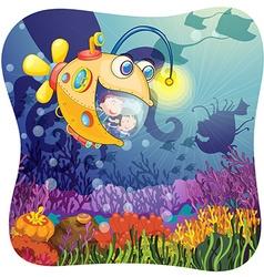 Children in submarine under the water vector image vector image