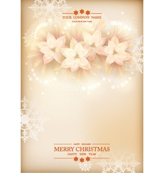 Christmas poinsettias celebration background vector