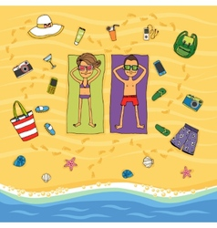 Couple sunbathing on a tropical beach vector