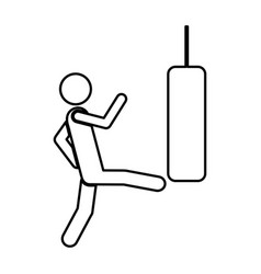 person kicking a punching bag vector image
