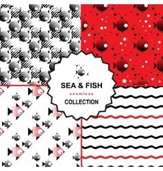 Sea and fish pattern set vector image vector image