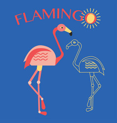 stylish flat design flamingo icon vector image
