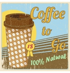 Vintage coffee cup poster vector image vector image