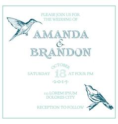 Wedding Vintage Invitation Card - Bird Theme vector image vector image