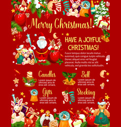 christmas poster with new year gift and santa vector image