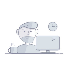 man sits in the night behind a computer vector image